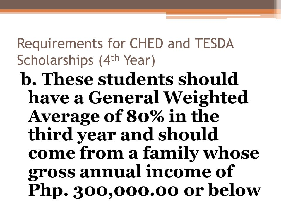Requirements for CHED and TESDA Scholarships (4 th Year) b.