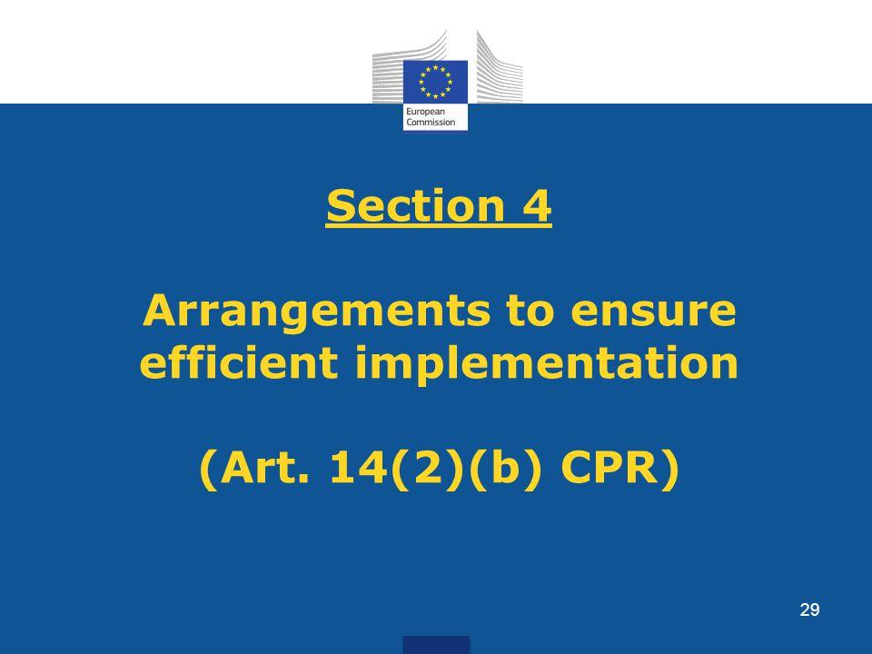Section 4 Arrangements to ensure efficient implementation (Art. 14(2)(b) CPR) 29