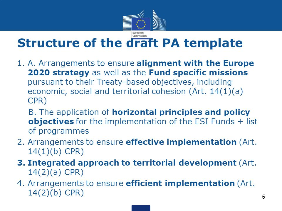 Structure of the draft PA template 1.A.