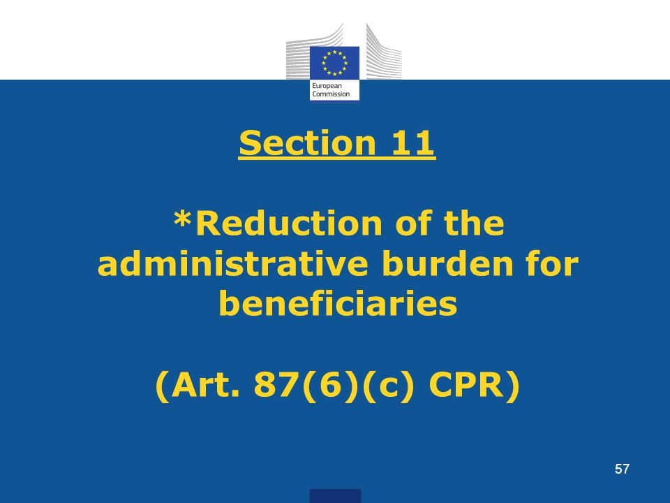 Section 11 *Reduction of the administrative burden for beneficiaries (Art. 87(6)(c) CPR) 57