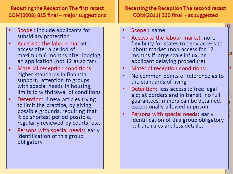 M G IM O 2013M G IM O 2013 Recasting the Reception The first recast COM(2008) 815 final – major suggestions Scope : include applicants for subsidiary