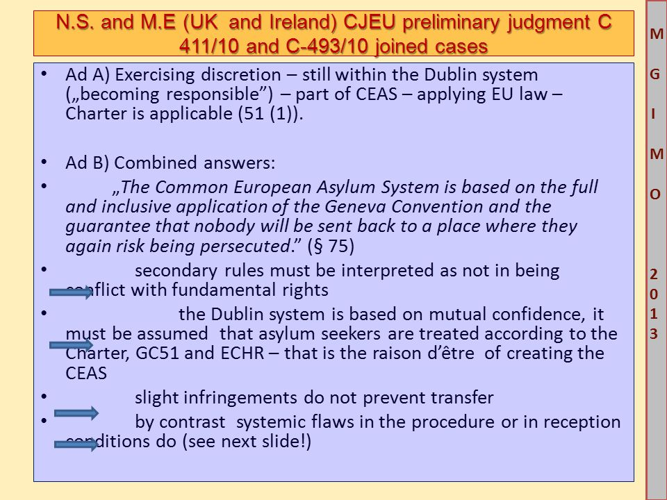 """M G IM O 2013M G IM O 2013 Ad A) Exercising discretion – still within the Dublin system (""""becoming responsible ) – part of CEAS – applying EU law – Charter is applicable (51 (1))."""