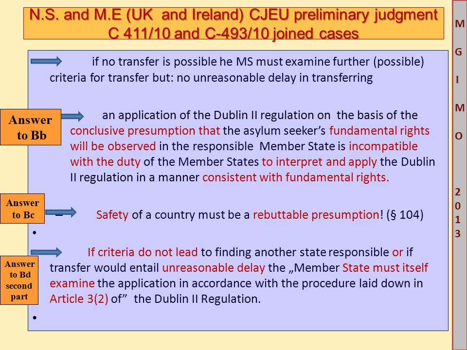 M G IM O 2013M G IM O 2013 if no transfer is possible he MS must examine further (possible) criteria for transfer but: no unreasonable delay in transf