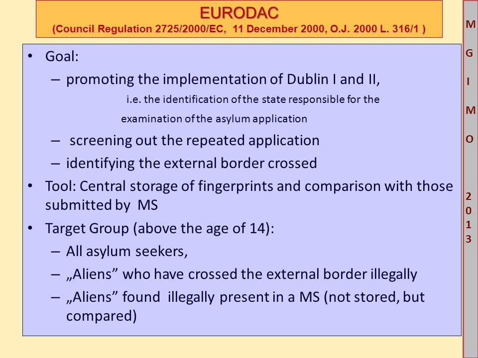 M G IM O 2013M G IM O 2013 EURODAC EURODAC (Council Regulation 2725/2000/EC, 11 December 2000, O.J.