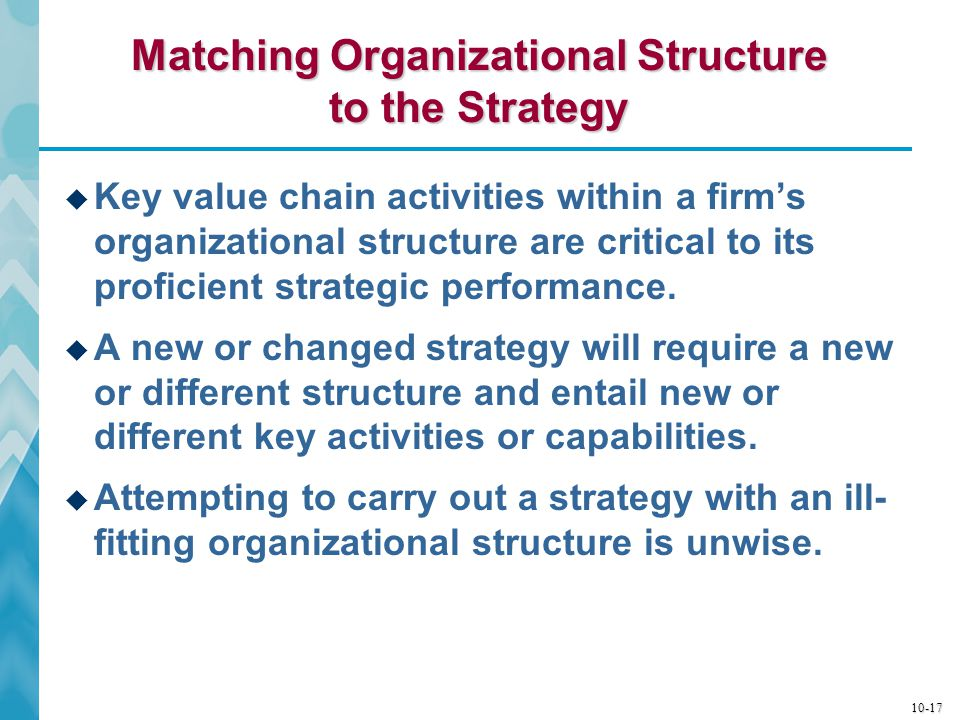 10-18 Types of Organizational Structures  Functional (or Departmental) Structure  Organizes strategy-critical activities into functional, product, geographic, process, or customer groups  Multidivisional (or Divisional) Structure  Organizes value chain activities involved in making a product or service available to consumers into a common (self-contained) division  Matrix Structure  Allows for dual reporting relationships between divisional heads and departmental heads
