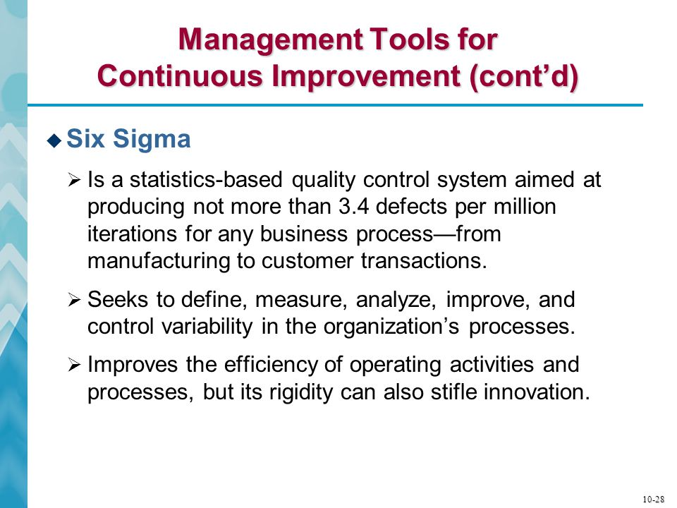 10-29 The Difference Between Business Process Reengineering and Continuous Improvement Programs  The essential difference between business process reengineering and continuous improvement programs is that reengineering aims at quantum gains of 30 to 50% or more whereas total quality programs stress incremental progress—a never-ending striving for inch-by-inch quality gains.