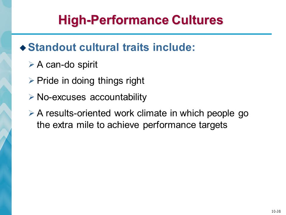 10-39 Characteristics of High-Performance Cultures  A strong sense of involvement by all employees  An emphasis on individual initiative and creativity  Clear statement of performance expectations  Prompt addressing of critical issues  Constructive pressure to achieve good results