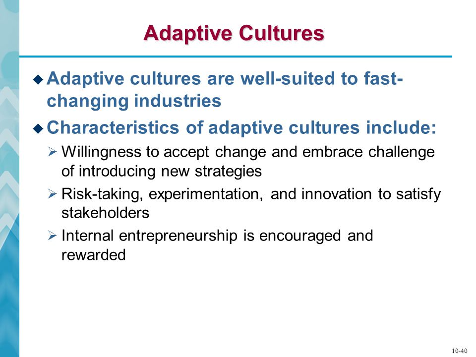 10-41 Dominant Traits of Adaptive Cultures  Any changes in operating practices and behaviors  Do not compromise core values and long-standing business principles  Are legitimate in the sense of serving the best interests of key stakeholders (customers, employees, shareholders, suppliers, communities)