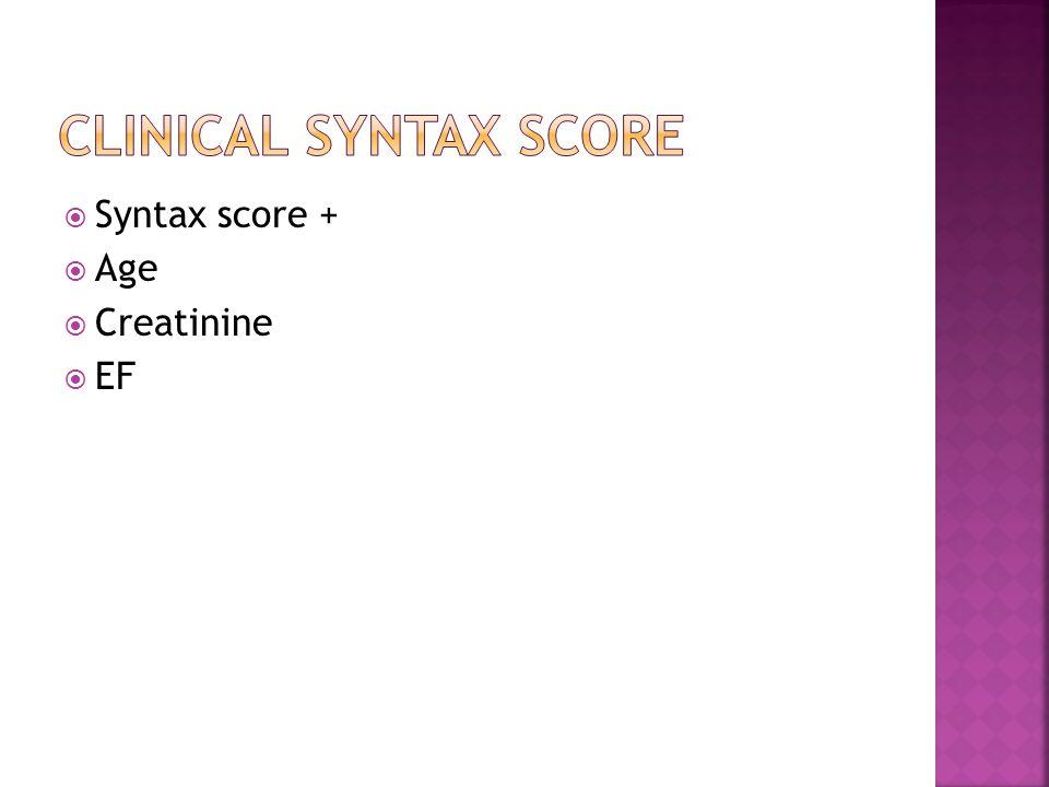  Syntax score +  Age  Creatinine  EF