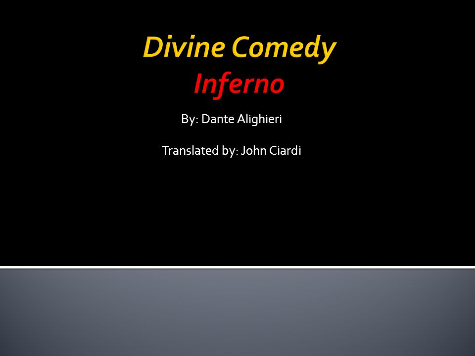 By: Dante Alighieri Translated by: John Ciardi