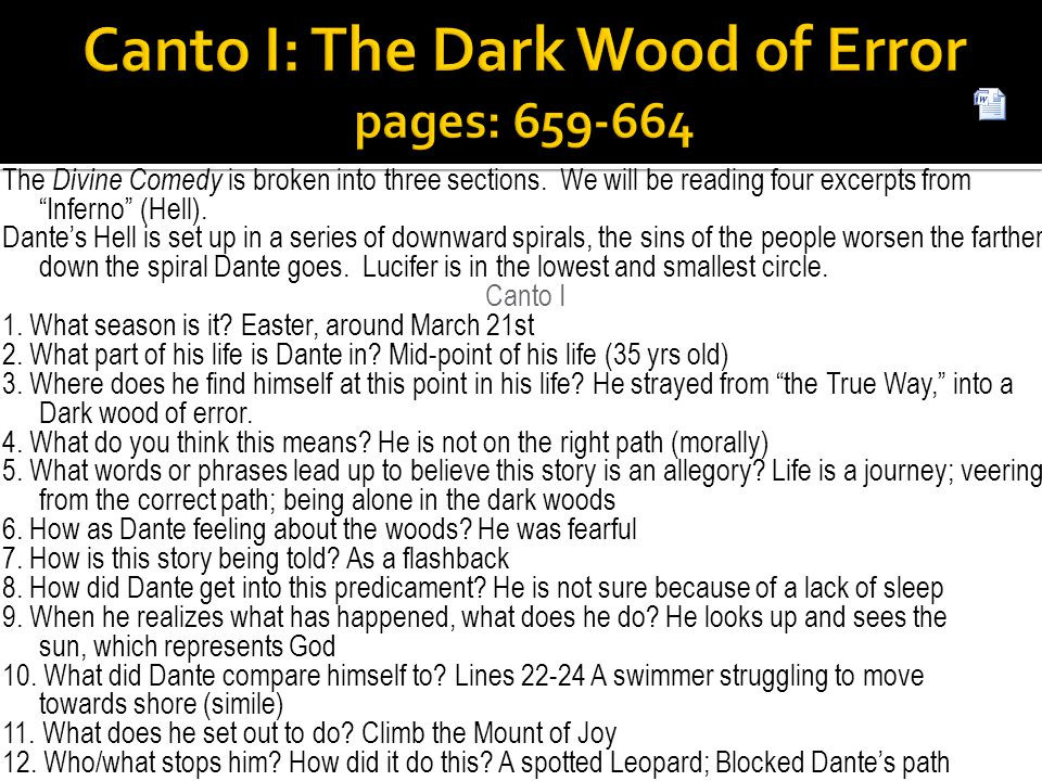 """The Divine Comedy is broken into three sections. We will be reading four excerpts from """"Inferno"""" (Hell). Dante's Hell is set up in a series of downwar"""