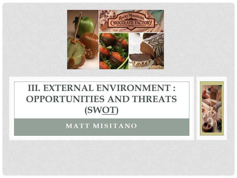 MATT MISITANO III. EXTERNAL ENVIRONMENT : OPPORTUNITIES AND THREATS (SWOT)