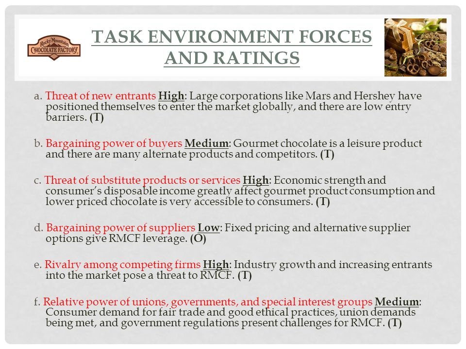 TASK ENVIRONMENT FORCES AND RATINGS a. Threat of new entrants High : Large corporations like Mars and Hershey have positioned themselves to enter the
