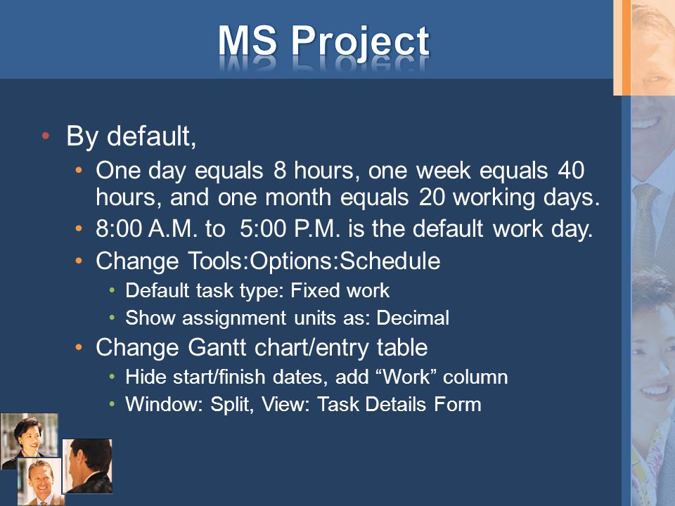 By default, One day equals 8 hours, one week equals 40 hours, and one month equals 20 working days.