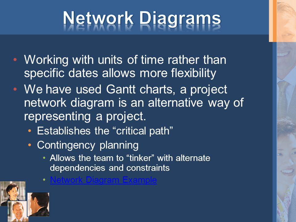 Working with units of time rather than specific dates allows more flexibility We have used Gantt charts, a project network diagram is an alternative w