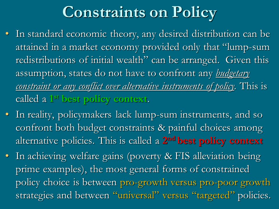 Growth versus Pro-Poor Growth The great tradeoff thesis is that welfare state policies necessarily sacrifice growth to get immediate gains in welfare i.e., sacrifice future gains in welfare that only growth can bring about for the sake of current gains.The great tradeoff thesis is that welfare state policies necessarily sacrifice growth to get immediate gains in welfare i.e., sacrifice future gains in welfare that only growth can bring about for the sake of current gains.