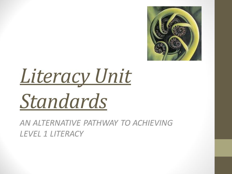 Literacy Unit Standards AN ALTERNATIVE PATHWAY TO ACHIEVING LEVEL 1 LITERACY
