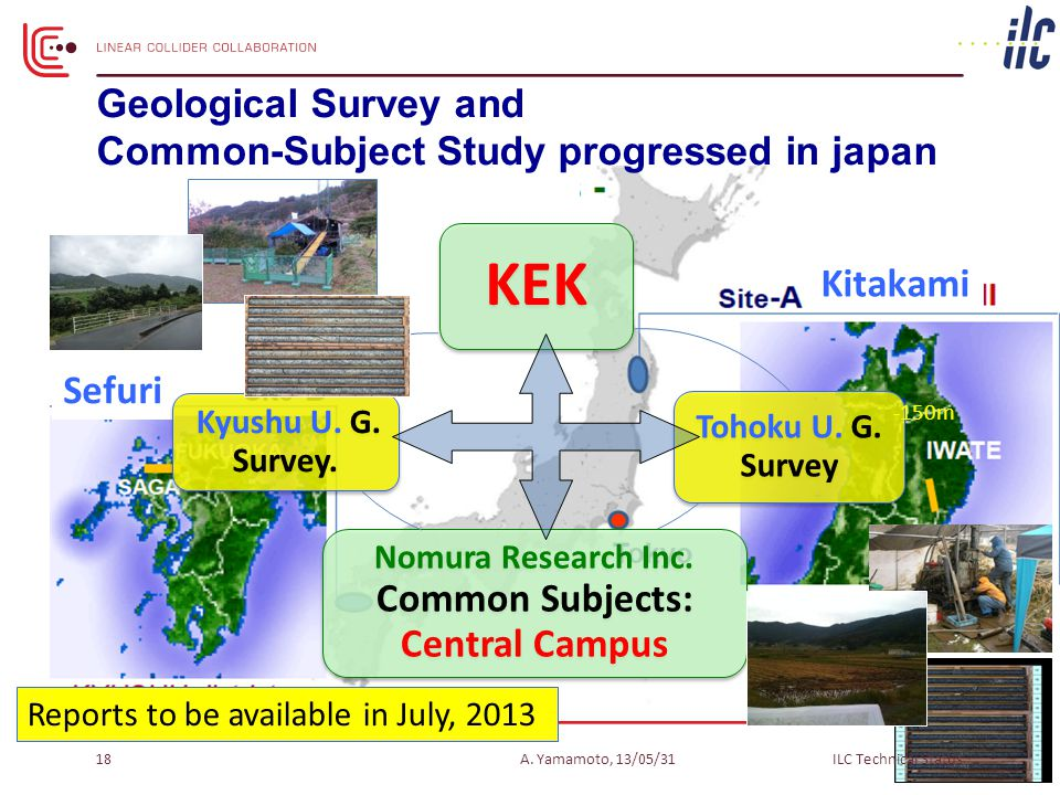Sefuri Reports to be available in July, 2013 Kitakami Geological Survey and Common-Subject Study progressed in japan -300m -150m A.
