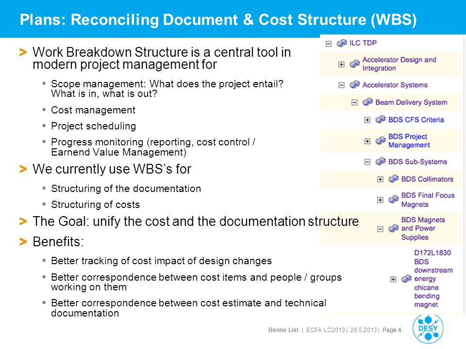 Benno List | ECFA LC2013 | 28.5.2013 | Page 4 Plans: Reconciling Document & Cost Structure (WBS) > Work Breakdown Structure is a central tool in modern project management for  Scope management: What does the project entail.