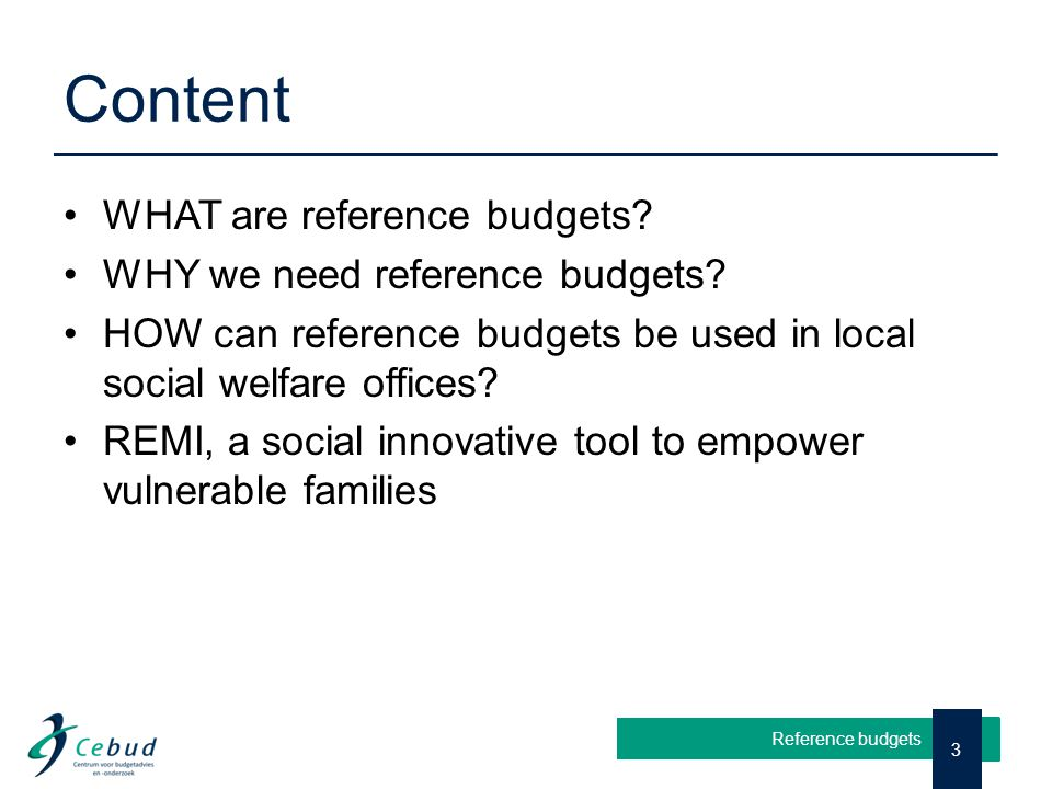 Content WHAT are reference budgets? WHY we need reference budgets? HOW can reference budgets be used in local social welfare offices? REMI, a social i