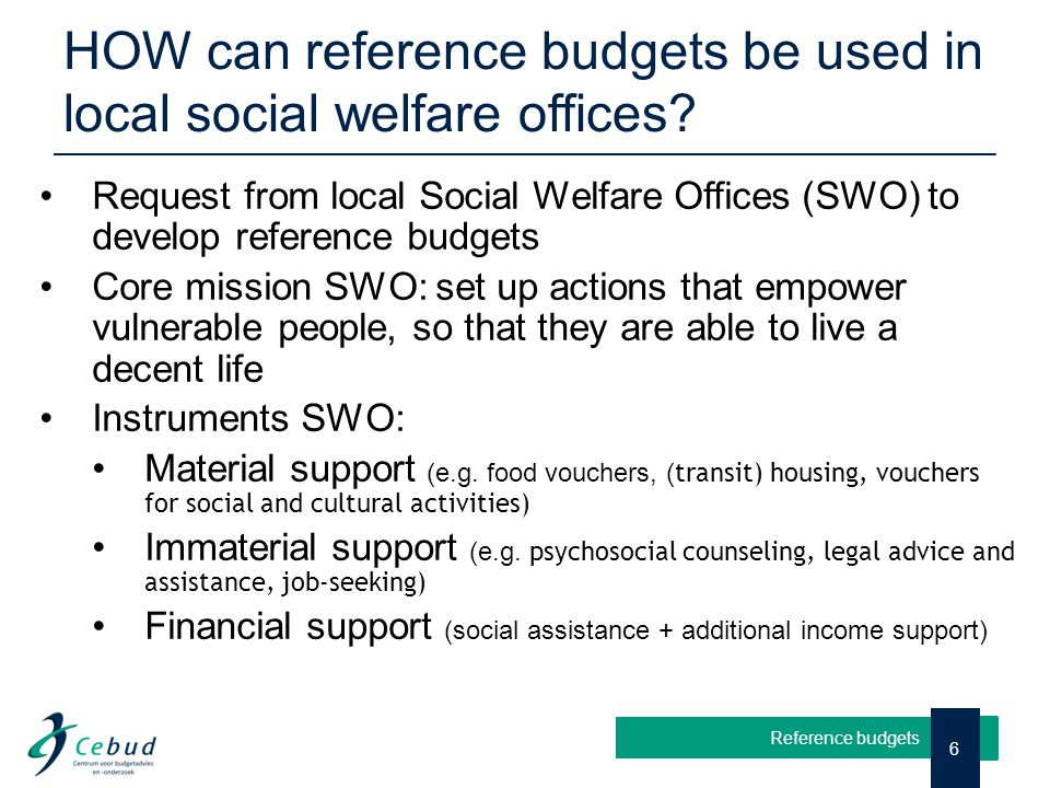HOW can reference budgets be used in local social welfare offices? 6 Reference budgets Request from local Social Welfare Offices (SWO) to develop refe