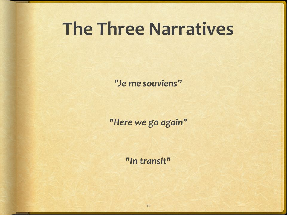 The Three Narratives Je me souviens Here we go again In transit 11