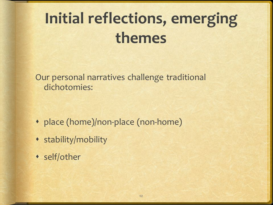 Initial reflections, emerging themes Our personal narratives challenge traditional dichotomies:  place (home)/non-place (non-home)  stability/mobili