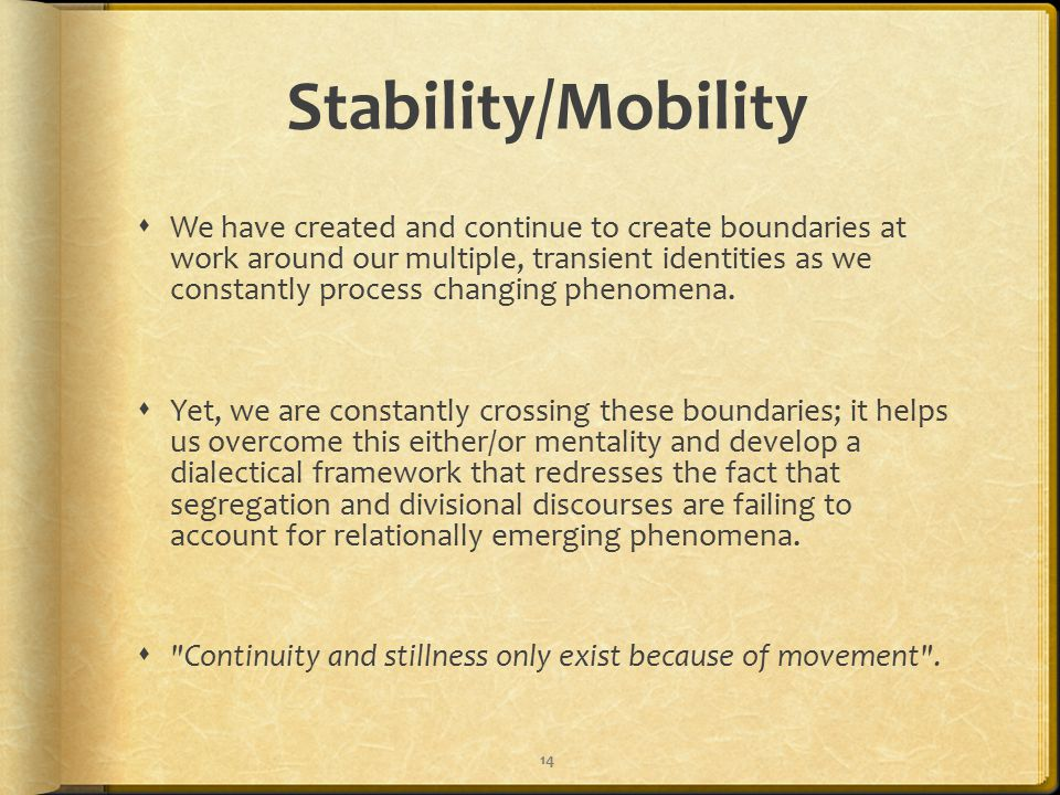 Stability/Mobility  We have created and continue to create boundaries at work around our multiple, transient identities as we constantly process changing phenomena.