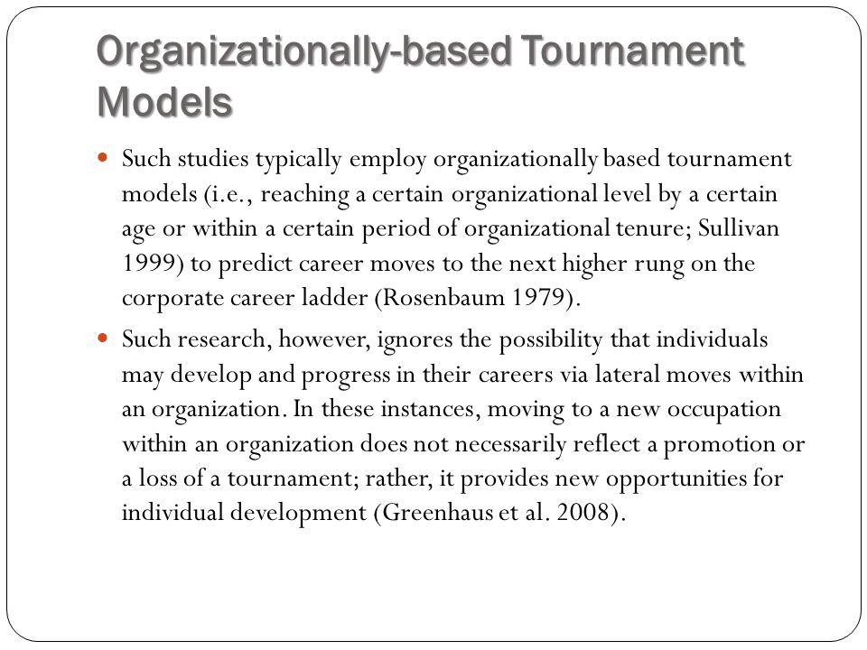 Organizationally-based Tournament Models Such studies typically employ organizationally based tournament models (i.e., reaching a certain organization