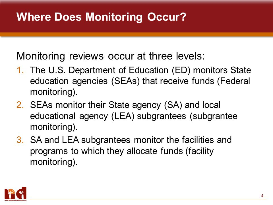 5 Federal Monitoring Student Achievement and School Accountability Programs Office (SASA) within ED monitors SEA administration of the Title I, Part D, program.
