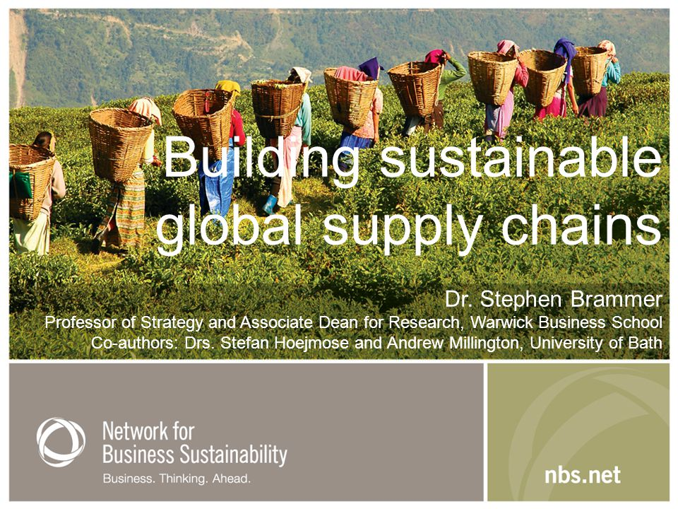Building sustainable global supply chains Dr.