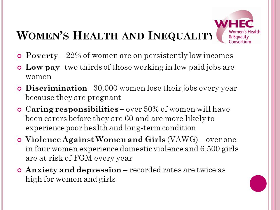 W OMEN ' S H EALTH AND I NEQUALITY Poverty – 22% of women are on persistently low incomes Low pay- two thirds of those working in low paid jobs are wo