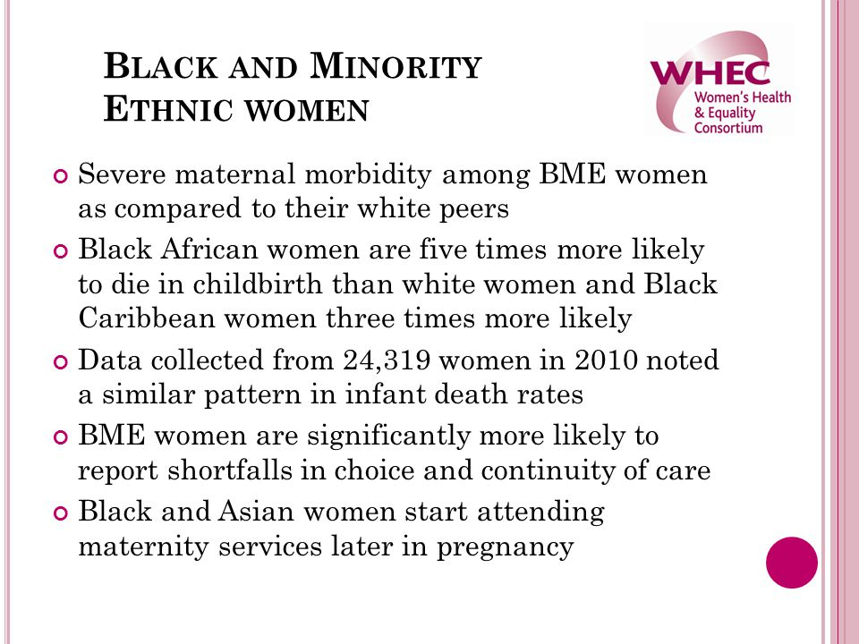 B LACK AND M INORITY E THNIC WOMEN Severe maternal morbidity among BME women as compared to their white peers Black African women are five times more