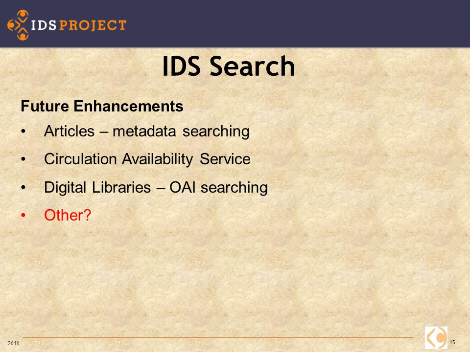 IDS Search 15 2010 Future Enhancements Articles – metadata searching Circulation Availability Service Digital Libraries – OAI searching Other