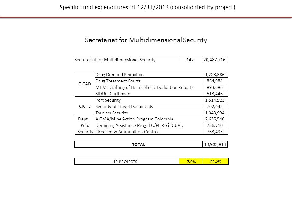 Specific fund expenditures at 12/31/2013 (consolidated by project) Secretariat for Multidimensional Security 14220,487,716 10 PROJECTS7.0%53.2% Drug Demand Reduction1,228,386 Drug Treatment Courts864,984 MEM Drafting of Hemispheric Evaluation Reports893,686 SIDUC Caribbean513,446 Port Security1,514,923 Security of Travel Documents702,643 Tourism Security1,048,994 AICMA/Mine Action Program Colombia2,636,546 Demining Assistance Prog.