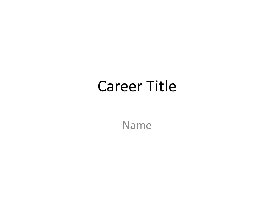 Career Title Name