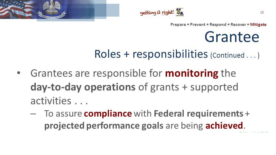 Prepare + Prevent + Respond + Recover + Mitigate Grantee Roles + responsibilities (Continued...