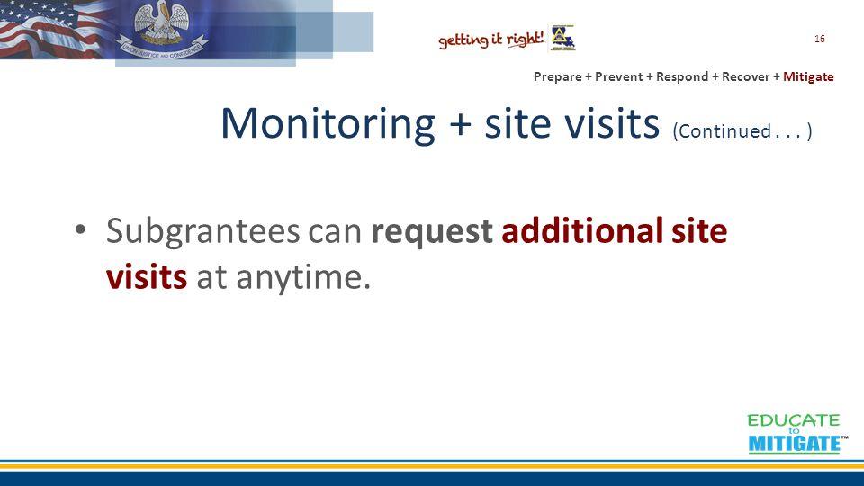 Prepare + Prevent + Respond + Recover + Mitigate Monitoring + site visits (Continued...