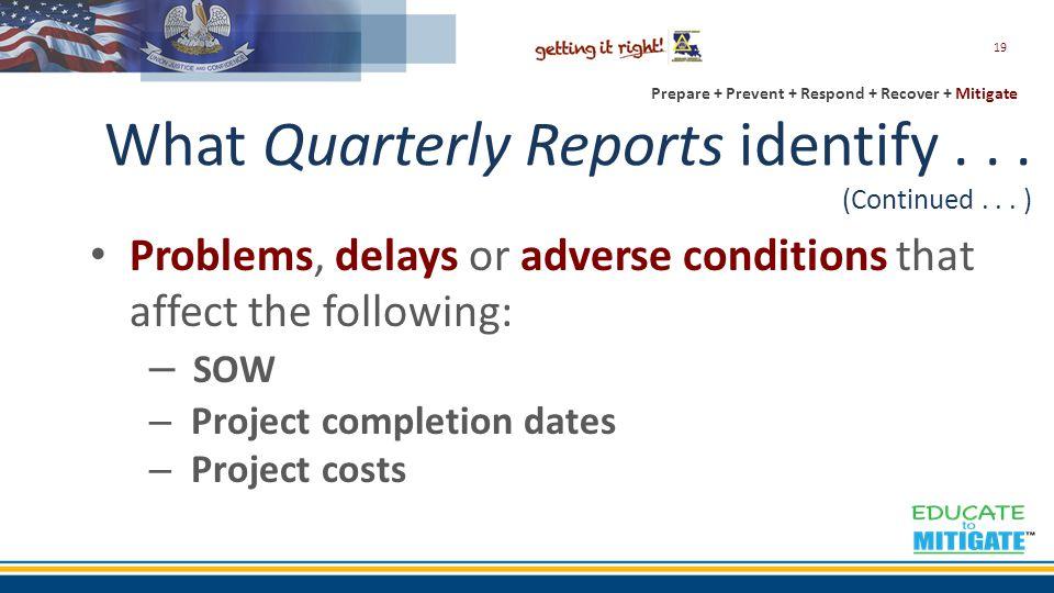 Prepare + Prevent + Respond + Recover + Mitigate What Quarterly Reports identify...