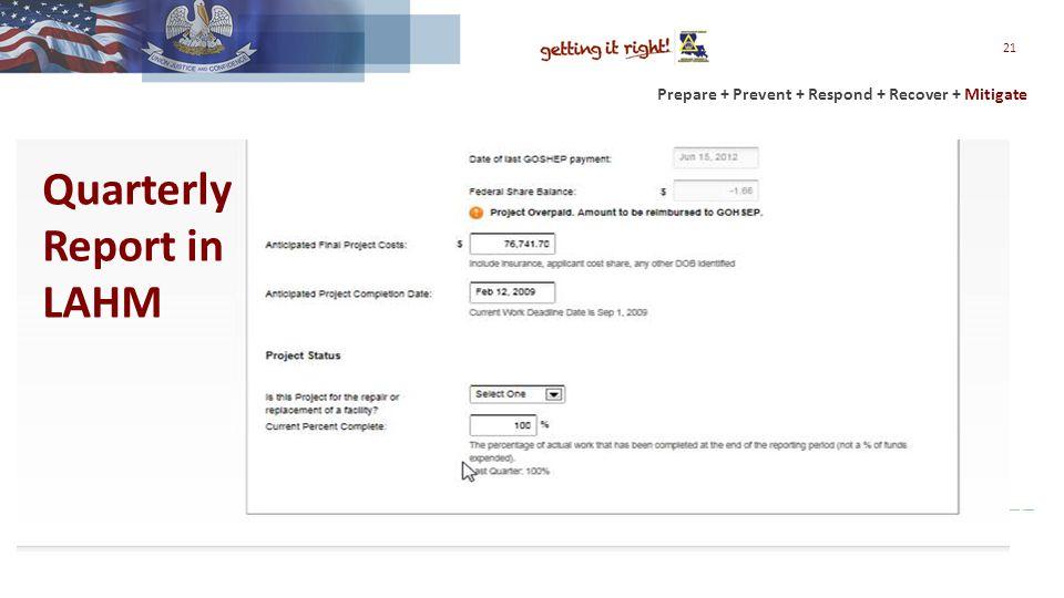 Prepare + Prevent + Respond + Recover + Mitigate 21 Quarterly Report in LAHM
