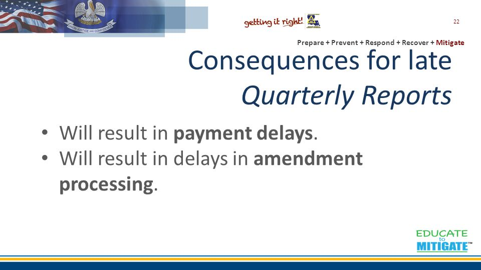 Prepare + Prevent + Respond + Recover + Mitigate Consequences for late Quarterly Reports Will result in payment delays.