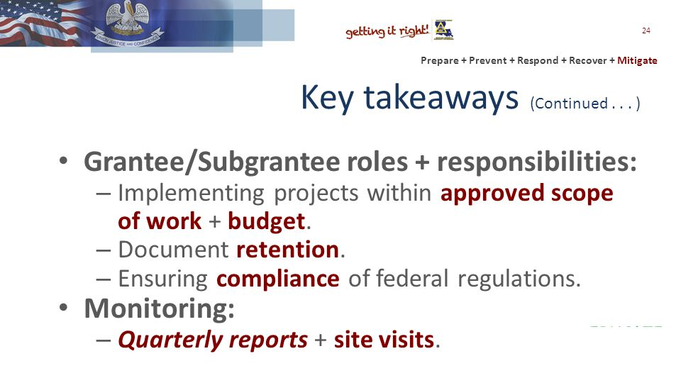 Prepare + Prevent + Respond + Recover + Mitigate Key takeaways (Continued...