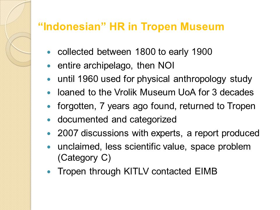 collected between 1800 to early 1900 entire archipelago, then NOI until 1960 used for physical anthropology study loaned to the Vrolik Museum UoA for 3 decades forgotten, 7 years ago found, returned to Tropen documented and categorized 2007 discussions with experts, a report produced unclaimed, less scientific value, space problem (Category C) Tropen through KITLV contacted EIMB Indonesian HR in Tropen Museum