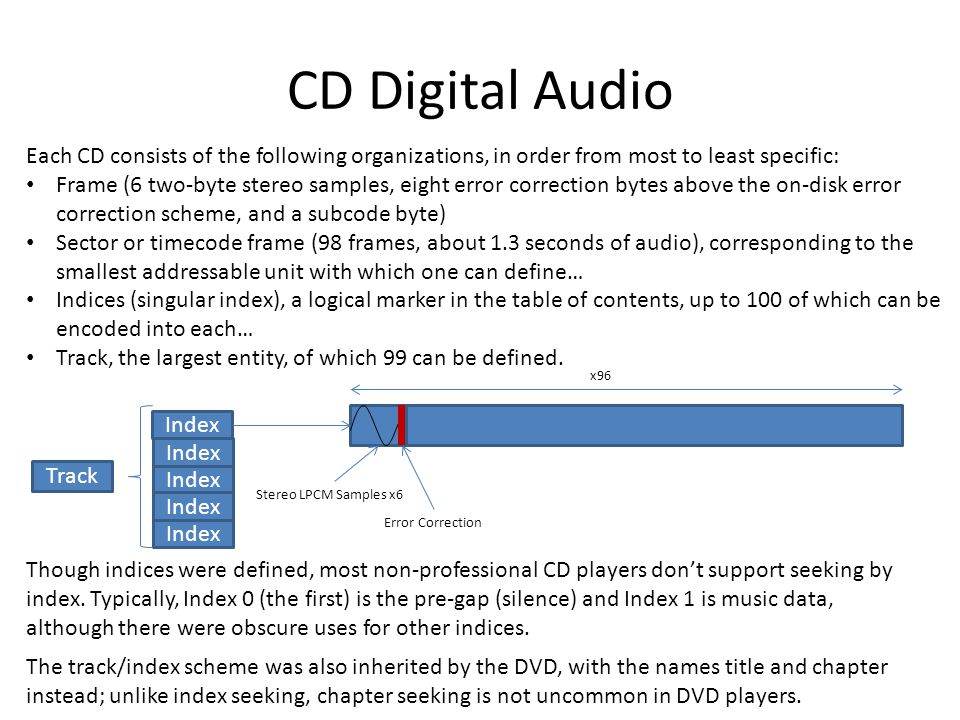 CD Digital Audio Each CD consists of the following organizations, in order from most to least specific: Frame (6 two-byte stereo samples, eight error