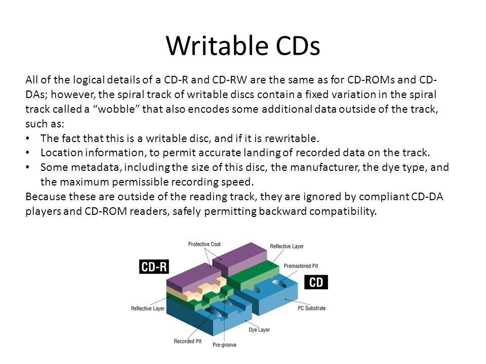 Writable CDs All of the logical details of a CD-R and CD-RW are the same as for CD-ROMs and CD- DAs; however, the spiral track of writable discs contain a fixed variation in the spiral track called a wobble that also encodes some additional data outside of the track, such as: The fact that this is a writable disc, and if it is rewritable.
