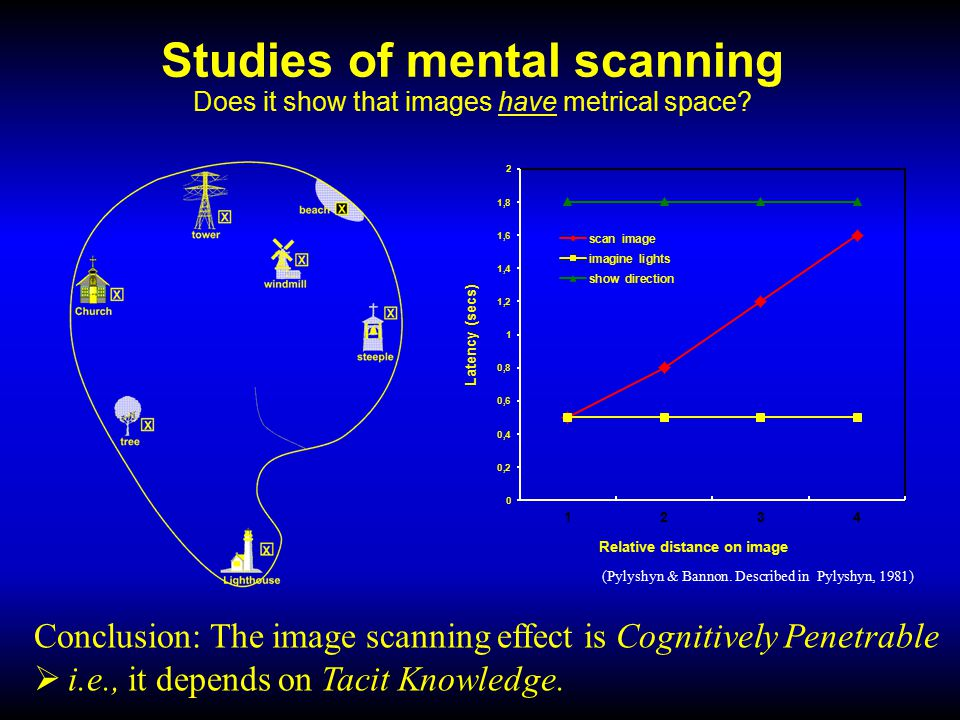 Studies of mental scanning Does it show that images have metrical space.