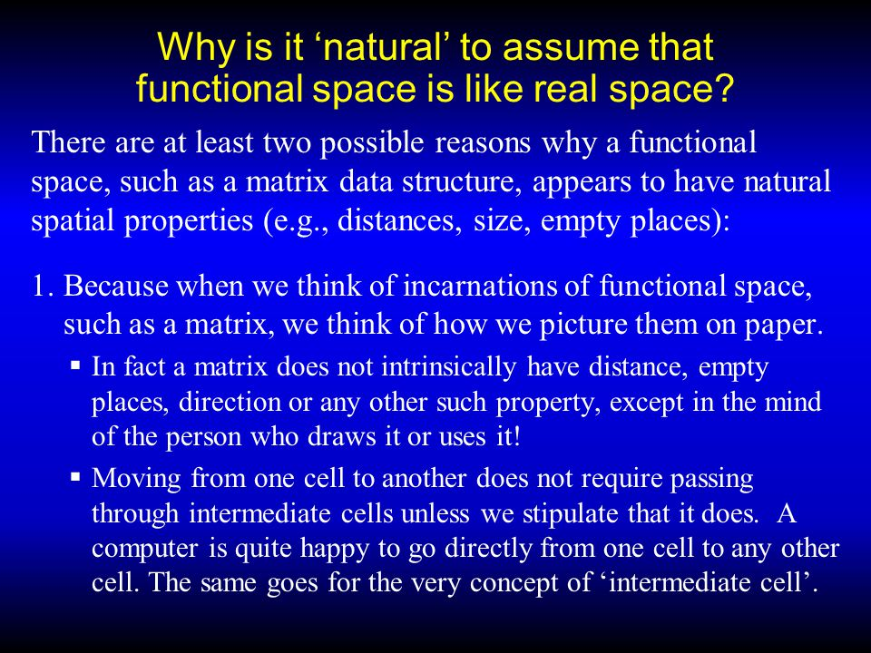 Why is it 'natural' to assume that functional space is like real space.