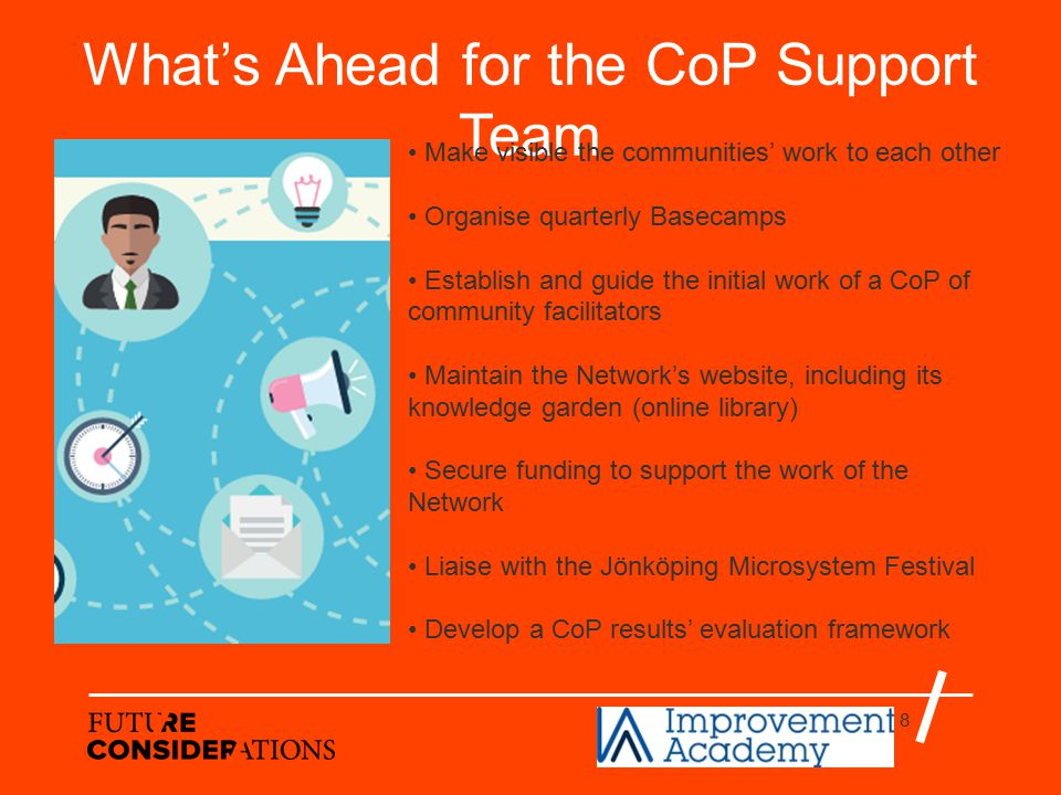 8 What's Ahead for the CoP Support Team Make visible the communities' work to each other Organise quarterly Basecamps Establish and guide the initial work of a CoP of community facilitators Maintain the Network's website, including its knowledge garden (online library) Secure funding to support the work of the Network Liaise with the Jönköping Microsystem Festival Develop a CoP results' evaluation framework