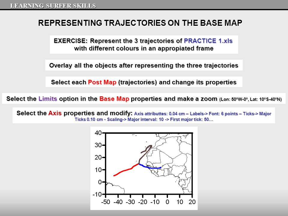 REPRESENTING TRAJECTORIES ON THE BASE MAP LEARNING SURFER SKILLS EXERCISE: Represent the 3 trajectories of PRACTICE 1.xls with different colours in an appropiated frame Select the Limits option in the Base Map properties and make a zoom (Lon: 50ºW-0º, Lat: 10ºS-40ºN) Overlay all the objects after representing the three trajectories Select each Post Map (trajectories) and change its properties Select the Axis properties and modify: Axis attributtes: 0.04 cm – Labels-> Font: 6 points – Ticks-> Major Ticks 0.10 cm - Scaling-> Major interval: 10 -> First major tick: 50…