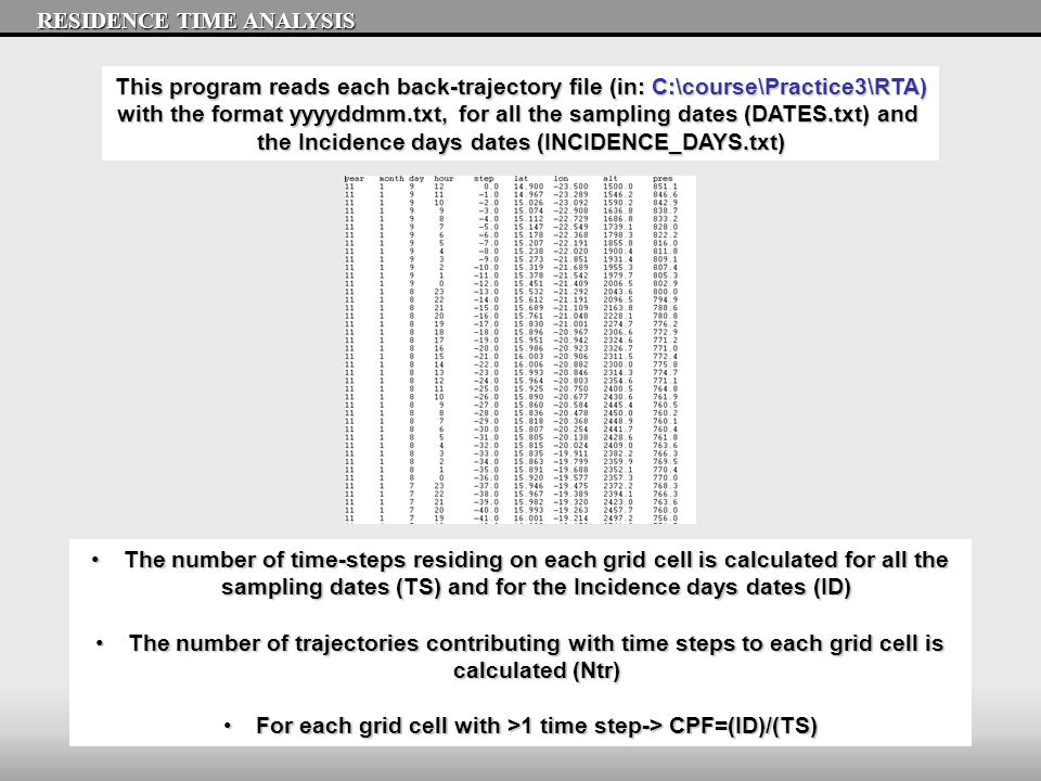 RESIDENCE TIME ANALYSIS This program reads each back-trajectory file (in: C:\course\Practice3\RTA) with the format yyyyddmm.txt, for all the sampling dates (DATES.txt) and the Incidence days dates (INCIDENCE_DAYS.txt) The number of time-steps residing on each grid cell is calculated for all the sampling dates (TS) and for the Incidence days dates (ID)The number of time-steps residing on each grid cell is calculated for all the sampling dates (TS) and for the Incidence days dates (ID) The number of trajectories contributing with time steps to each grid cell is calculated (Ntr)The number of trajectories contributing with time steps to each grid cell is calculated (Ntr) For each grid cell with >1 time step-> CPF=(ID)/(TS)For each grid cell with >1 time step-> CPF=(ID)/(TS)